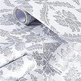 Glow4u Peel and Stick decorativo grigio damascato contatto carta da parati autoadesiva in vinile ripiano cassetti per mobili da cucina cassetto Sheves decalcomania da parete (61x 500,4cm)