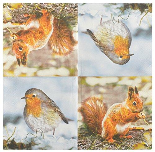 Esschert Design Serviette en Papier de Soie avec Motifs (Lot de 20) Rouge Gorge et écureuil