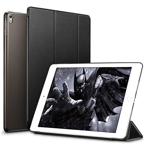 ESR iPad Pro 9.7 Hülle, Yippee Series Auto aufwachen/Schlaf Funktion Wickelfalz Ledertasche mit Lichtdurchlässig Rückseite Abdeckung Leichtgewicht Schutzhülle für iPad Pro 9.7 Zoll (Schwarz)