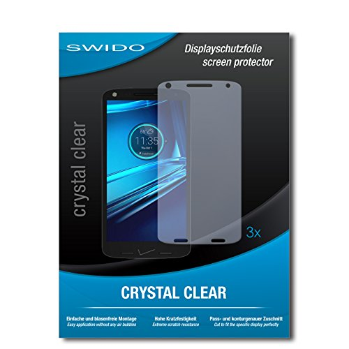 Bildschirmschutzfolie für Motorola Droid Turbo 2 [3 Stück] SWIDO Kristall-Klar, Extrem Kratzfest, Blasenfreie Montage, Schutz vor Öl, Staub, Fingerabdruck & Kratzer / Folie, Glasfolie, Bildschirmschutz, Schutzfolie, Panzerfolie