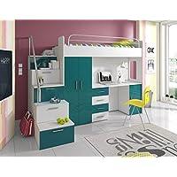 Furnistad Kinderzimmer Komplett Sky | Kinder Hochbett mit Treppe, Schreibtisch und Schrank preisvergleich bei kinderzimmerdekopreise.eu