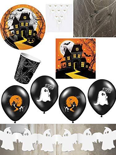 PGH/Diverse 58-TLG. Partyset Halloween Geister für 8 Kinder - Partygeschirr im Set mit Zubehör