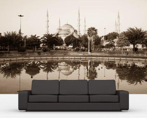 Vlies Fototapete - Sultan-Ahmet-Moschee in Istanbul -Türkei - sephia - sepia - 230x150 cm - inklusive Kleister - Tapetenkleister – Bild auf Tapete – Bildtapete – Foto auf Tapeten – Wand – Wandtapete – Vliestapete – Wanddeko - Design