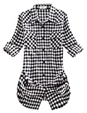Match Damen Langarmhemd Flanell Karierte Bluse Plaid Shirt #B003(2021 Checks#12,Medium(Fit 35''-37''))