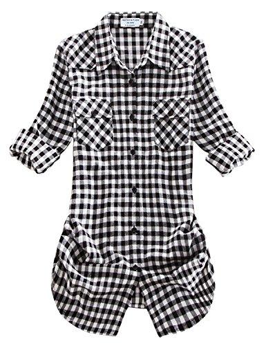 Match donna flanella plaid camicia #b003(2021 checks#12,small)