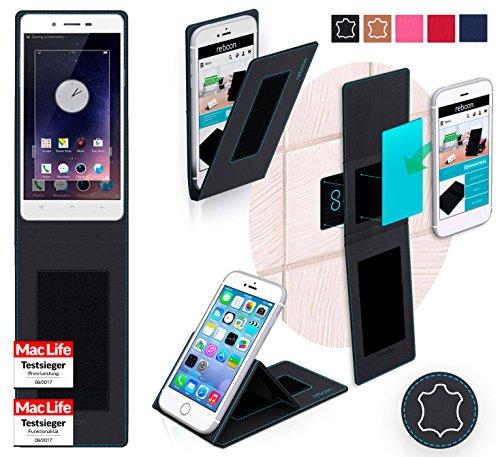 reboon Hülle für Oppo Mirror 5 Tasche Cover Case Bumper | Schwarz Leder | Testsieger