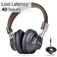 Avantree 40 horas Inalámbrico Bluetooth 4.1 Auriculares / auriculares plegables con micrófono, APTX BAJA LATENCIA Audio rápido para TV, juegos de PC, con NFC, modo con cable - Audition Pro [2 años de garantía]