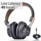 Avantree [24M Garantie] 40 Stunden Wireless Bluetooth 4.1 Over-Ear Faltbar Fernseher Kopfhörer / Headset mit Mikrofon, APTX LOW LATENCY Fast Audio für TV, PC, mit NFC, Wired / Drahtlose Funkkopfhörer, DUAL Mode - Audition Pro