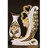 Avighna Golden Glazed Elegant Ceramic Flower Vase Pot With Glittering Heart Decoration For Home And Living Room Décor | Inauguration And Housewarming Gift (Golden)