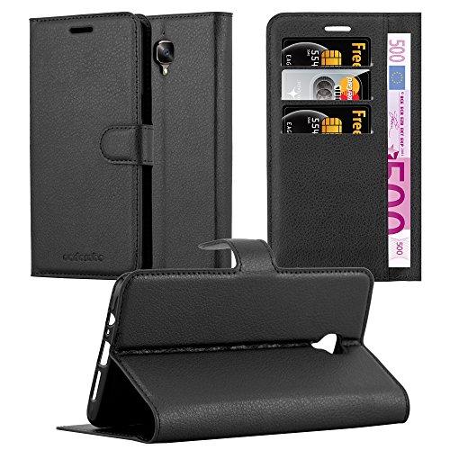 Cadorabo Hülle für OnePlus 3 / 3T - Hülle in Phantom SCHWARZ - Handyhülle mit Kartenfach & Standfunktion - Case Cover Schutzhülle Etui Tasche Book Klapp Style