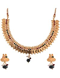 Ganapathy Gems 1 Gram Gold Plated Lakshmi Coin With Maroon, Green Stones And Pearls Necklace Set For Women