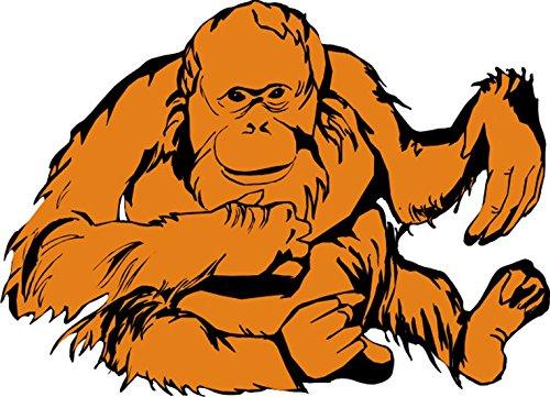 T-Shirt E710 Schönes T-Shirt mit farbigem Brustaufdruck - Logo / Grafik - Comic Design - wunderschöner Orang Utan im Dschungel Weiß