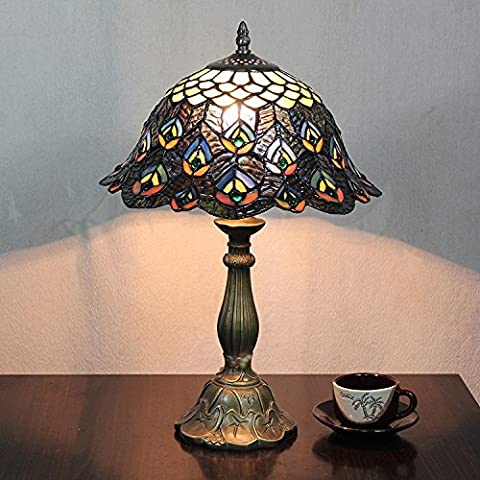 Carl Artbay Carl Artbay 12-Inch Vintage Pastoral Peacock Stained Glass Tiffany Table Lamp Bedroom Lamp Bedside Lamp
