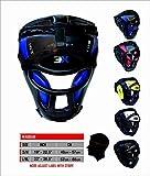 3 x griglia sportiva Head Guard bar Maya Hide sintetico da boxe in pelle Rex MMA Protector copricapo UFC combattimento sparring Head Guard caschetto, Blue, S/M