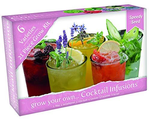kit per la coltivazione delle piante da funky cocktail. 6 varietà di erbe da coltivare. include semi, terriccio, cartellini ed una serretta- un fantastico regalo per gli amanti del giardinaggio.