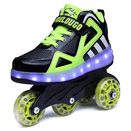 Ufatansy Unisex Kinder Leuchten Charge Schuhe Roller Inline SkateAbnehmbar Werden Sport-Sneaker LED Schuhe Für Mädchen Jungen Geschenk (35 EU, A- Black Green)
