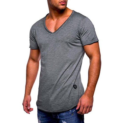 V-Ausschnitt T-Shirt Männer T-Shirt Slim Fit Kurzarm Baumwolle Casual Tops Bluse Muscle Shirts GreatestPAK,Grau,XXXL