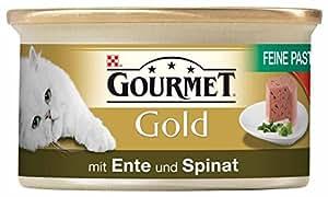 Gourmet Gold Katzenfutter Feine Pastete mit Ente und Spinat, 12er Pack (12 x 85 g) Dosen