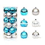 ShiyiUP - Set di 24 palline decorative per albero di Natale Blu e argento