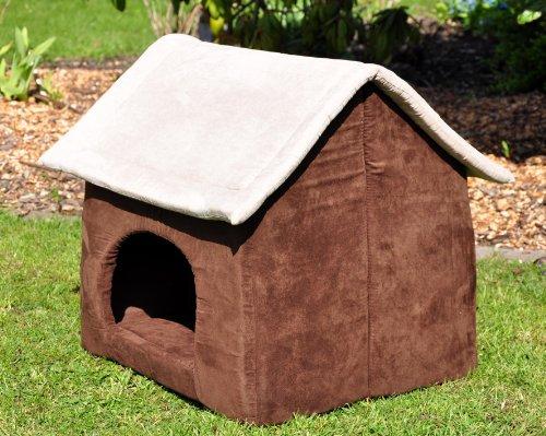 nanook Hunde-Höhle Hunde-Haus COSY für große Hunde XL und XXL, Wildleder-Optik, braun grau, Indoor -