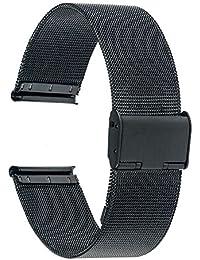 trumirr 18mm Cinturino per orologio in acciaio inox per cinturino in metallo Mesh per Huawei Orologio, Asus ZenWatch 2Donna wi502q, Withings Activite/acciaio/Pop, nero