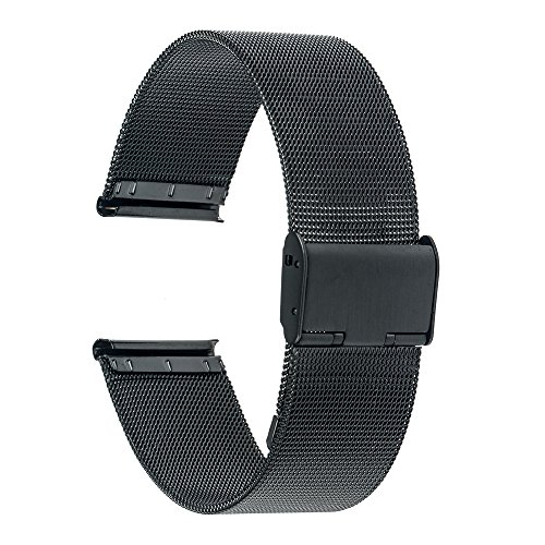 TRUMiRR 22mm Cinturino in maglia di acciaio inossidabile Bracciale in metallo per Samsung Gear S3 Classic Frontier, Gear 2 Neo Live, Huawei Watch 2 (Classic ), Moto 360 2 46mm, Pebble Time, Asus ZenWatch 1 2 uomini, LG G Watch Urbane W150, Amazfit