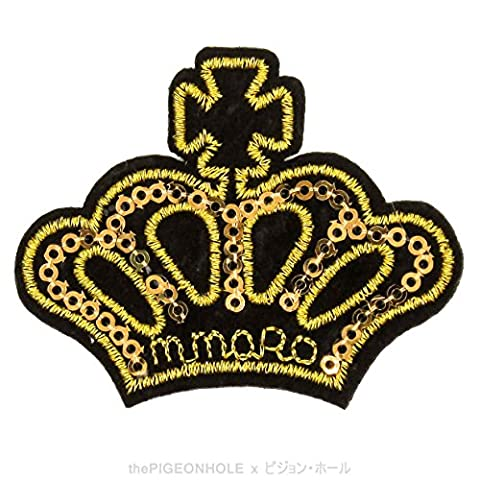 [ Dream Big, Princess ] Gold Blingy Royal Imperial Crown - Clip Art with Blink Sequins Embroidery Iron On, Sew On Embroidered Patch - Gift, Travel Souvenir, Collectible, Décor