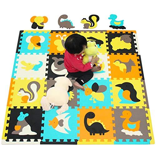 Alfombra de Juego Puzzle Piezas de Puzzle de Encaje que Promueven el Desarrollo Sensorial Visual Alfombra Suave para Niños 16 Azulejos con Vibrantes Imágenes Azulejos de Suelo de Goma EVA Mat