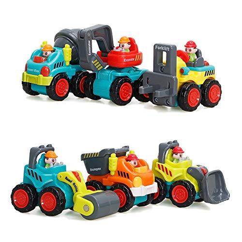 Baby Spielsachen Spielzeugauto Baufahrzeuge - WISHTIME Frühe Bildung Spielzeug 6 Baufahrzeuge in einem set für Kinder Jungen Mädchen ab 18 Monate