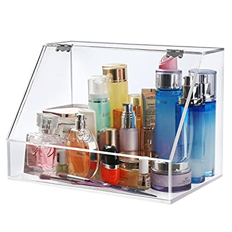 Boxalls Large Acrylic Cosmetics Makeup Organizer or Personal Beauty Care Products Box with Lid / Handmade 5mm Thickness