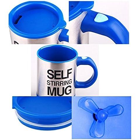 DISINO nueva versión de la novedad inoxidable liso eléctrico automático mismo perezoso taza agitación taza térmica de viaje Oficinas de bebida de la bebida del café taza de café de la taza de mezcla 400ml (Azul