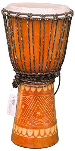 Kascha - Professionelle 50cm Djembe Trommel Bongo Drum Buschtrommel Afrika-Style handgeschnitzt aus Mahagoni Holz Design 4