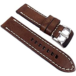Minott Aeronautica Replacement Band Watch Band Airman Strap look Leather brown 26mm
