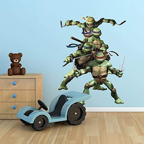 Wall Smart Designs Teenage Mutant Ninja Turtles TMNT Full Farbe Art Wand Aufkleber Aufkleber Wandbild Mädchen Kinder Schlafzimmer Transfer Print (Turtle Ein Mädchen, Ninja Ist Es)