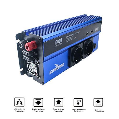 iGearsPro 1000W Spannungswandler Wechselrichter mit 2 Externe Sicherungen (EU Steckdose, DC 12V auf 230V AC, 2 Steckdosen, 2 x 2.4A USB Ports, 2 x Zigarettenanzünderbuchse, Auto Power Inverter)