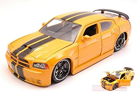 JADA TOYS JADA96807Y DODGE CHARGER SRT/8 2006 RIBON 5 YELLOW 1:24 DIE CAST MODEL