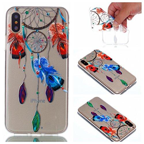 iPhone X Hülle, Voguecase Silikon Schutzhülle / Case / Cover / Hülle / TPU Gel Skin für Apple iPhone X(Einhorn und Blume) + Gratis Universal Eingabestift Campanula Feder 20