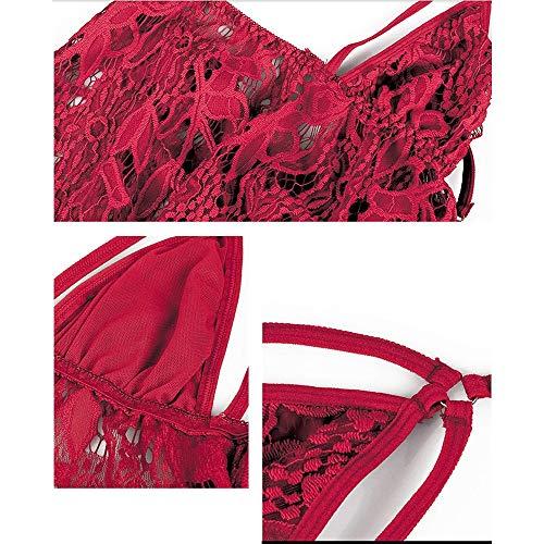 Jusfw Strap Sexy Pyjamas Sexy Unterwäsche transparente Spitze Rock Leidenschaft Anzug Rot/Schwarz/Weiß (Color : Rot) - 6