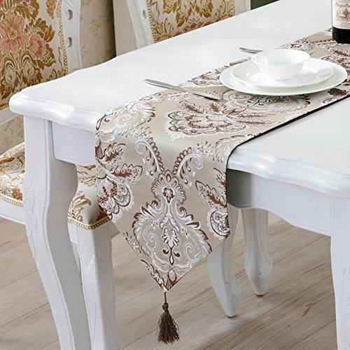 LXZ Chemins De Table, Vintage Chemin De Table À Toile Flanelle Lin Jacquard De Jute Et Burlap De Table Décoration Pour Maison Mariage , D , 33X210Cm