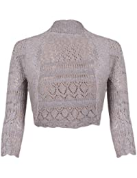 New Ladies Long Sleeve Crochet Bolero Shrug Top Womens Plain Cropped Knitted Open Cardigan Tops