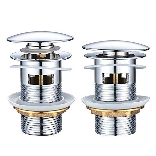 BONADE Accesorios de Baño - Válvula de Desagüe Pop-Up Válvula Desagüe sin Rebosadero para Lavabo Baño, Cobre Cromado (Válvula Lavabo con Rebosadero)