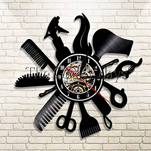 txyang 1 Pieza Barber Shop Vinyl Record Reloj de Pared Salón de Belleza Tienda Vintage Reloj de Pared Corte de Pelo Decoración Reloj de Tiempo Regalo para Peluquero