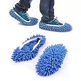 homiki 1 Paire mignon Chaussons serpillères à frange pour salle de bain Bureau Cuisine Facile à Nettoyer Bleu