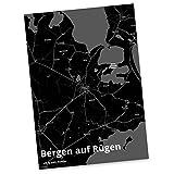 Mr. & Mrs. Panda Postkarte Stadt Bergen auf Rügen Stadt Black - Stadt Dorf Karte Landkarte Map Stadtplan Ansichtskarte, Grußkarte, Fan, Fanartikel, Souvenir, Andenken, Fanclub, Stadt, Mitbringsel