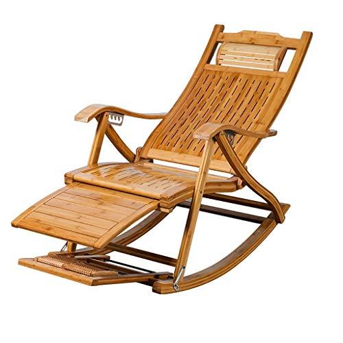 SEEKSUNG Fauteuil Relax,Loisirs Chaise à Bascule, chaises Longues Creuses en Bambou, Paresseux, chaises Siesta détente Chaise de Patio, adapté à l'extérieur, Salon, Plage,