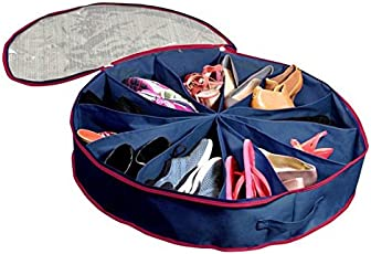 Rural Mart Go-Round Travelling Shoes Bag for Chappal, Shoes and Sandals (Blue)