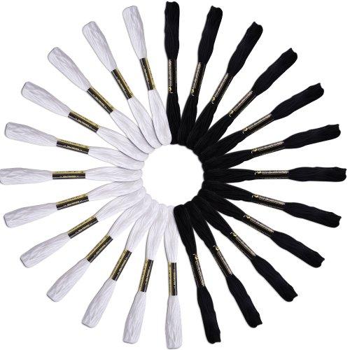 BOXCUTE Lot de 24 Echevettes de Fils (Blanc et Noir) Pour Broderie Point de Croix Tricotage Bracelets Brésiliens