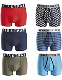 Firetrap Branded Genuine 100% Deluxe Mens Boxer Shorts / Trunks Underwear in an Assorted 6 Pack in sizes Small, Medium, Large, XL and XXL - Great Value (Colours Selected at random from Latest Stock)
