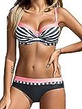 Bikini Sets Damen Sexy Bademode Push Up Bikinis Badeanzug Zweiteiler Strand Swimwear Swimsuits Beachwear Rosa,L