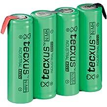 Wentronic AA-4 RTU Pack 4,8V 2100 NIMH PB-1 tecxus - Batería/Pila recargable (Níquel metal hidruro, 2100 mAh, 4 pilas 1,2V x 4.8 V, 15 mm, 59 mm, 50.5 mm) Si